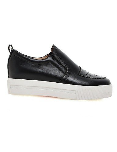 ZQ gyht Scarpe Donna-Mocassini-Casual-Plateau / Punta arrotondata-Plateau-Finta pelle-Nero / Bianco / Beige , white-us9 / eu40 / uk7 / cn41 , white-us9 / eu40 / uk7 / cn41 black-us5.5 / eu36 / uk3.5 / cn35
