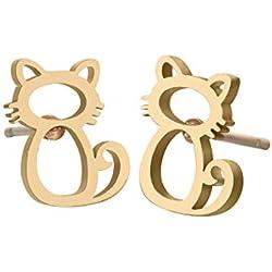 Pendientes de tuerca de acero inoxidable con diseño de gato, para mujer