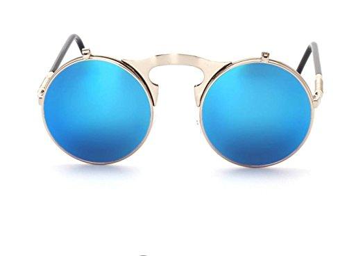 GSHGA Sonnenbrillen Für Männer Frauen Retro Metall Flip Sonnenbrille,Silverframebluelenses