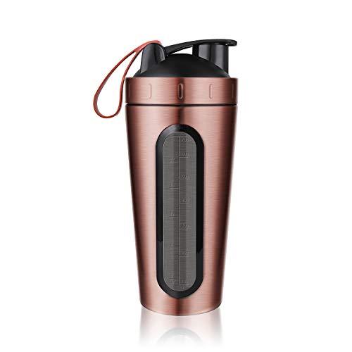 homiguar Protein Shaker Flasche, Edelstahl Sport Wasser Flasche Shaker Cup, sichtbar Fenster, auslaufsicher, 28-ounce, BPA-frei 700ml RoseGold -