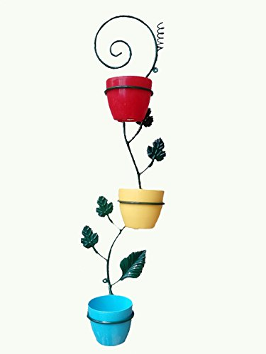 VGreen 3 Pot Wall Hanging Metal Planter with Multi Color Pot