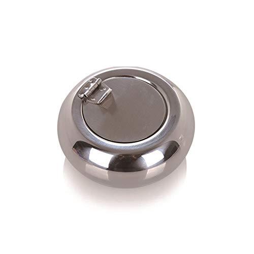 SLIANG Cendrier Noir Tambour Épais en Acier Inoxydable Cendrier Couvercle Coupe-Vent Cendrier Personnalité Cylindre en Métal Creative Maison Cadeau Cadeau Cendrier De Voiture (Deux Tailles)