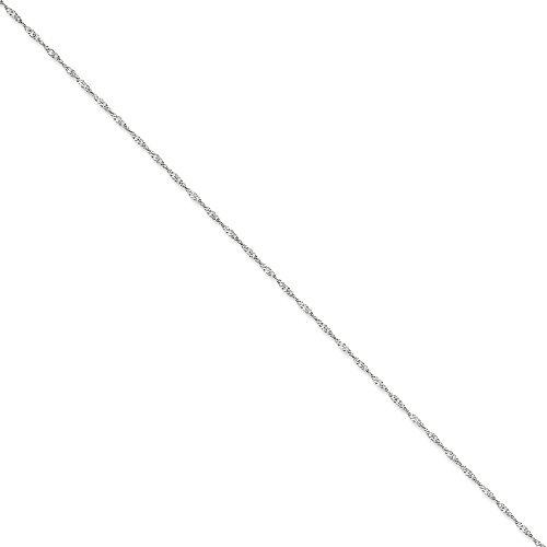IceCarats Designer Jewellery 14K White Gold 1.7Mm Singapore Chain Anklet In 10.00 Inch