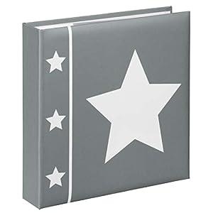 Hama Einsteck-Fotoalbum Skies (Memo-Album mit 100 Seiten, zum Einstecken von 200 Fotos im Format 10x15, Stern Motiv, 22,5x22, Einsteckalbum Fotobuch) grau