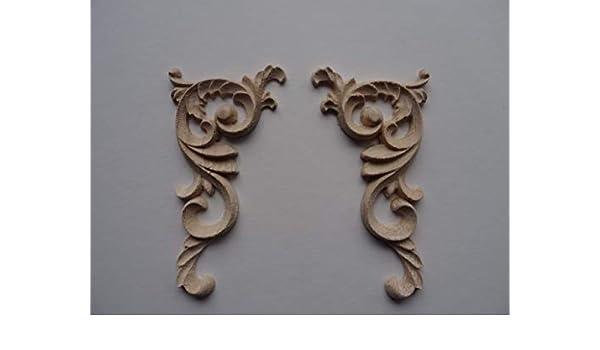 Dekorativer Holz Ecke Scrolls X 2/Aufn/äher Shabby Chic M/öbel Zierleiste W52