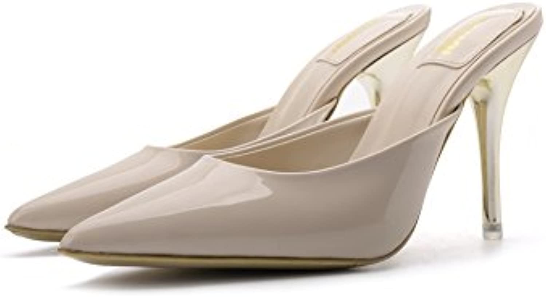 Sandalias de Mujer con Punta de Aguja, Pantuflas, Beige 7cm, 39