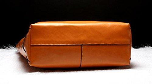 Moda Pelle Bovina Tote per Donne le signore Genuino Tracolla in Pelle Della Borsa - Arancione, Versione Orizzontale Arancione, Versione Orizzontale