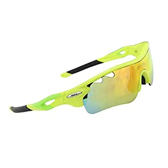 Duco POLARIZED Sports Sunglasses Cycling Glasses With 5 Interchangeable Lenses 0025 Fluorescent Green