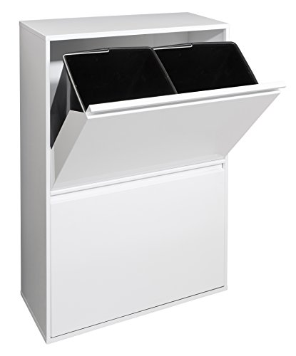 Arregui Basic Cubo de Reciclaje con 4 Cubetas, Metal, Blanco, 24.5x90.5x58.5 cm