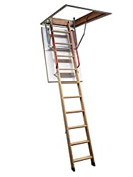 Deluxe Wooden Loft Ladder with Twin Handrails - Frame 1100 x 545mm - Floor to Ceiling Heights up to 2.8m - Loft Ladders