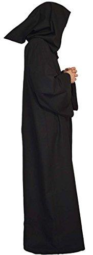 Maylynn – Umhang Mittelalter schwarz Mönch Kostüm Jedi Vampir Kutte 100% Baumwolle Gothic LARP Herren, Größe:M - 3