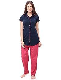 SWEETNIGHT Women's Cotton Printed Half Sleeve Nightwear