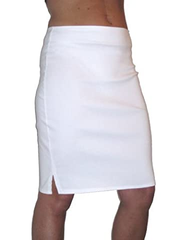 ICE (2356) stretch pencil skirt smart casual white 6-18 (10)