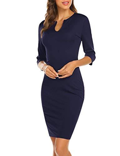 Vestido de Trabajo de lápiz Delgado para Mujer Vestidos de Fiesta de Manga Larga con Cuello en V (B-Azul Marino L)