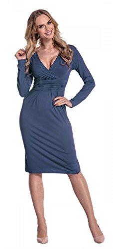 Glamour Empire Damen Bleistiftkleid V-Ausschnitt Kleid Langarm Freizeitkleid 285 Blau Grau