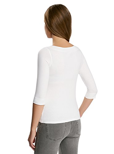 oodji Collection Damen Tagless T-Shirt mit 3/4-Ärmeln Weiß (1200N)