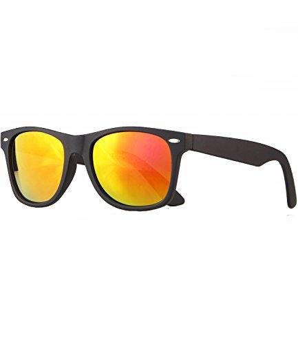 caripe Wayfarer Sonnenbrille verspiegelt - SP (schwarz matt gummiert - sun verspiegelt)
