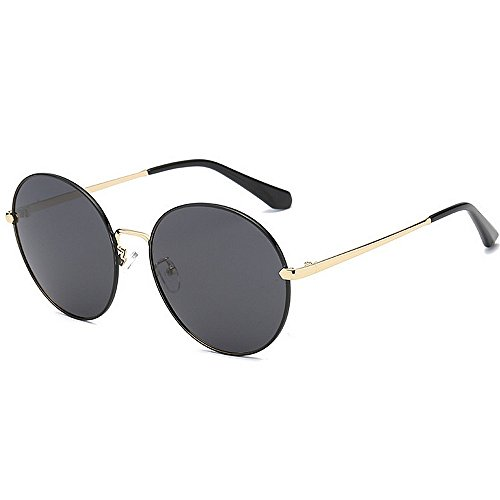 Yiph-Sunglass Sonnenbrillen Mode Kleine runde Form Frauen polarisierten Sonnenbrillen Full Frame UV-Schutz Fahren Sonnenbrillen für alle Gesicht (Farbe : Schwarz)
