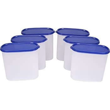 TallBoy Space Saver Plastic Container Set, 1.8 Liters, Set of 6, White and Blue