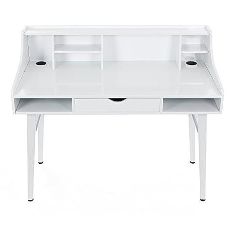 Songmics Schreibtisch Sekretär Computertisch mit Schubladen pc tisch MDF 120 x 100 x 60 cm (B x H x T) weiß LCD565W