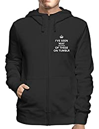 T-Shirtshock Felpa Cappuccio e Zip Uomo Nera TKC0068 Keep Calm And I ve 18849b6fabf