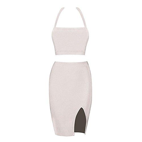 HLBandage 2 Piece Halter Neck Rayon Side Split Bandage Dress Beige