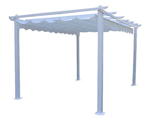milani home s.r.l.s. gazebo di design 3 x 3 in alluminio bianco super robusto telo bianco per esterno e giardino