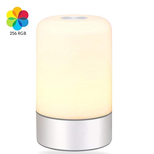 YJF Top Touch Control Wecker LED Nachttischlampe Einstellbare Helligkeit Nachtlicht Wake Up Light USB Recharge -