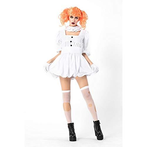 Tüll Kostüm Weiß Ghost - MEMIND Halloween Erwachsene Kleidung Ghost Doll Clown Kostüm Erwachsene Cos Kostüme weißes Kleid Vampir Ghost Braut Cosplay Thema Party Party Prom Kleidung,M