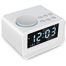 JHEY Reloj Despertador con Altavoz Bluetooth Inteligente, Pantalla Grande LCD Temperatura Doppia Sveglia (Color