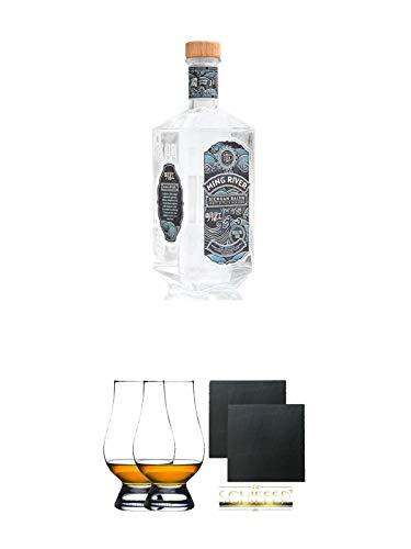 Ming River Sichuan Baijiu (weisser Brand) 45% 0,7 Liter + The Glencairn Glas Stölzle 2 Stück + Schiefer Glasuntersetzer eckig ca. 9,5 cm Ø 2 Stück