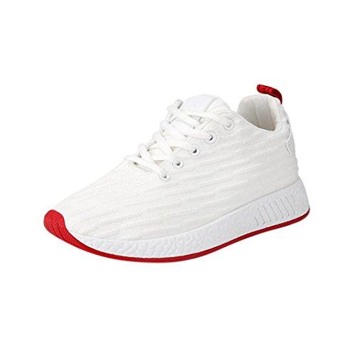 Mesh Sneaker Herren,ABSOAR Männer 2018 Sommer Turnschuhe Kreuzgurte Flache Schuhe Freizeitschuhe Gym Skate Schuhe Mode Laufschuhe Atmungsaktiv Sportschuhe (EU:43/CN:44, Weiß)