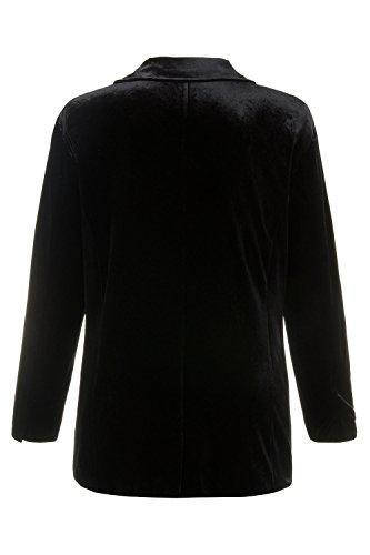 Ulla Popken Femme Grandes tailles Veste de tailleur en Velours - Costume d'affaires - Manches longues 707386 Noir