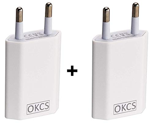 OKCS 5W 2X USB Netzteil Netzstecker Adapter 5V / 1A für Smartphones/Tablets/eBook Reader/iPhone/Galaxy / P10 P20 / Xperia/etc. in Weiß