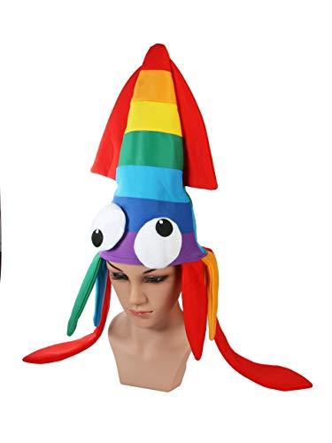 Erwachsene Oktopus KrakeTintenfisch Kopfbedeckung Hut Mehrfarbig Kostüm Zubehör Halloween Party Weihnachten Party