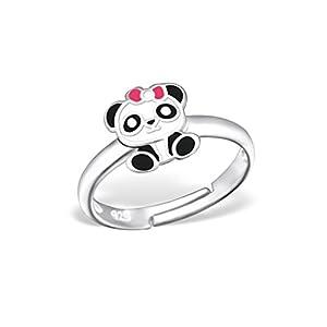 Liara Kinder Panda Ring 925 Sterling Silber Farbe.Poliert und Nickelfrei