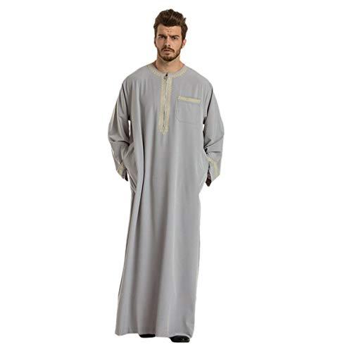 Muslimische Roben Herren Männer Ethnische Roben Langarm Islamischer Kleidung Mittlerer Osten Maxikleid Abaya Dubai Kleidung Kaftan Islamischer Mantel Oberteil Drucken Arabische Kleidung