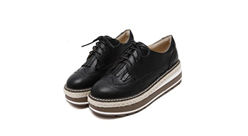 XieShiJie Femme bottes / nouvelles croûte épaisse / chaussures / Brock / style / gland / chaussures / muffins / chaussures basses / chaussures Oxford / bottes / britanniques Black