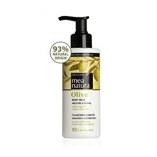 Mea Natura cuerpo de oliva Leche, La Humedad y alimentación con Orgánica griego aceite de oliva virgen, para todos los tipos de piel, 250ml