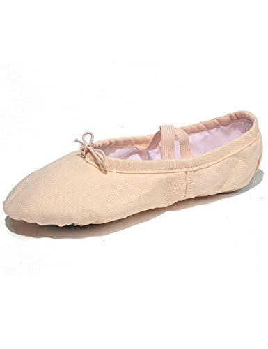 X2X Canvas Ballettschuhe Leder Geteilte Sohle Indoor Sports Gymnastik Pilates Yoga Hausschuhe für Kinder Mädchen Damen Herren in Unterschiedlicher Größe (Hellrosa, EU 30=20cm =UK11.5)