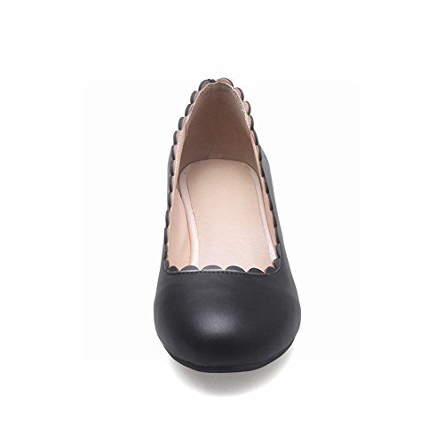 Mee Shoes Damen mit Borte chunky heels runde Pumps Schwarz