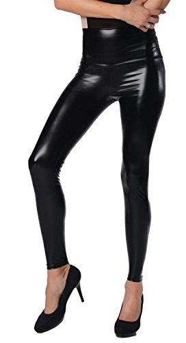 AE Damen Leggings Wet-Look schwarz Silber Gold pink grau Glanz Legings Gr. S M L XL 2XL 3XL 4XL, p904 Schwarz Glanz L/40