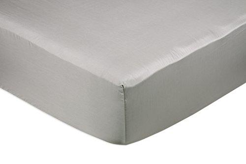 AmazonBasics Spannbetttuch, Baumwoll, Satin Fadenzahl 400, knitterarm, 180 x 200 x 30 cm - Grau (Baumwolle Bath Sheet)