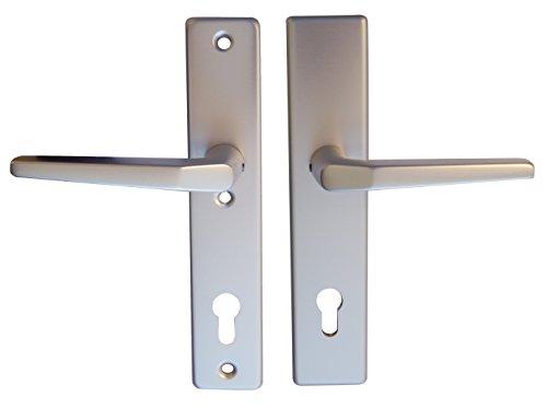 Alpertec Haustürbeschlag Tira -LS KT Schutzbeschlag für Hausstüren Drücker/Drücker alu silber eloxiert Vierkant 10 mm, Abstand 92 mm, 40100986
