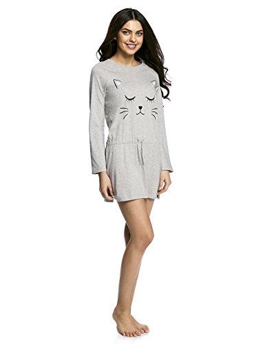 oodji Ultra Femme Robe d'Intérieur en Coton Imprimé Gris (2029P)