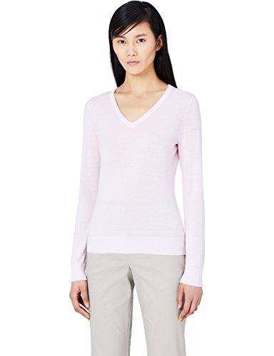 Meraki pullover lana merino donna scollo a v, rosa (pale pink), 50 (taglia produttore: xx-large)