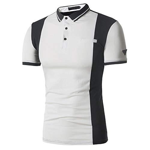 (Saingance Herren Poloshirt Vintage Kurze Ärmel Elastisch Slim Shirt– Für Anzug,Business,Freizeit)