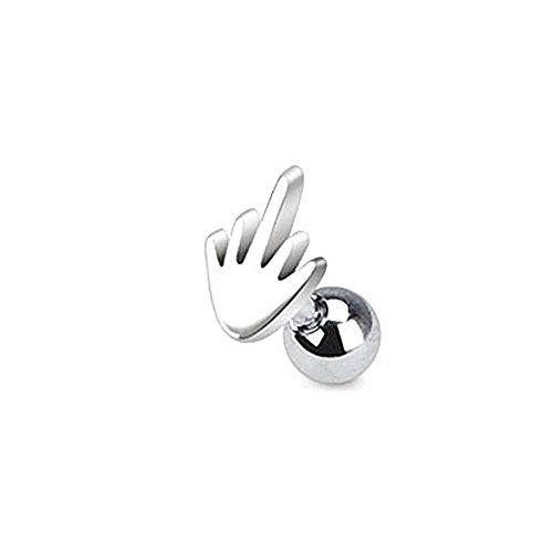 Cloud-bj tragus acciaio chirurgico medio dito della mano o cartilagine piercing spessore: 1.2mm lunghezza: 6mm materiale: acciaio chirurgico