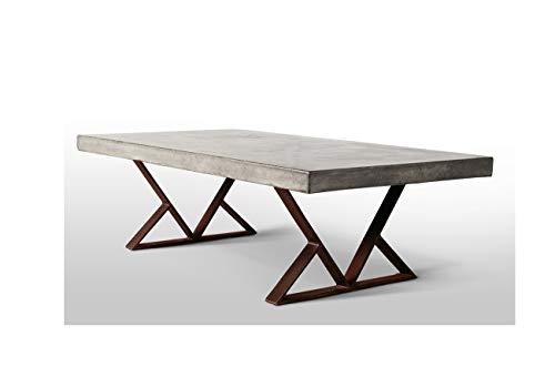 Table Basse en béton et métal Vieilli Effet Rouille - Meuble Design Contemporain Industriel - décoration Factory