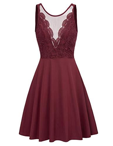 GRACE KARIN v rücken Kleid Rockabilly Damen sexy Kleid festlich Petticoat Kleider M CL958-2